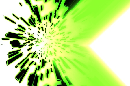 Abstract ray square with green background  photo