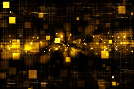 dark abstract: golden tech square abstract background  Stock Photo