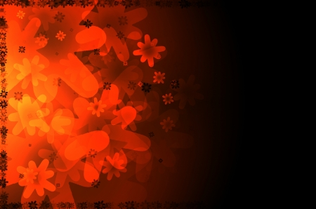 dark orange floral abstract background.
