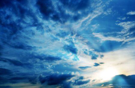 blue sky with sunray.