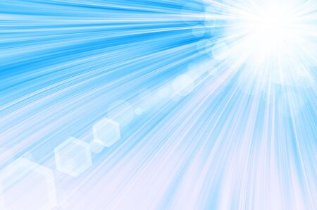 Blue background with circles and lens flare. photo