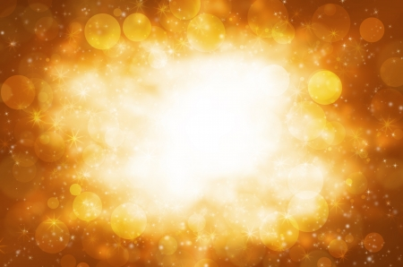 Abstract circular bokeh with golden background. photo