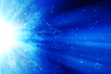snow and star light on blue background