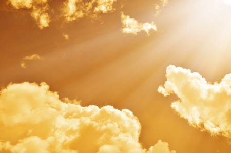 sunset sky with clouds and light ray Stock Photo - 17418368