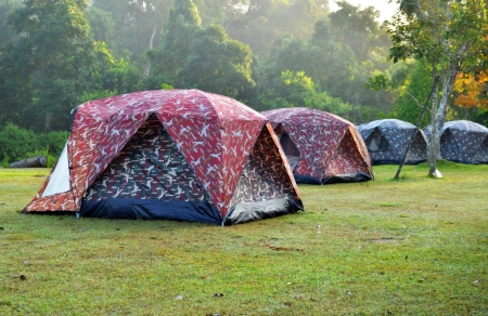 Touristic tent in a mist forest  Stock Photo - 17450774