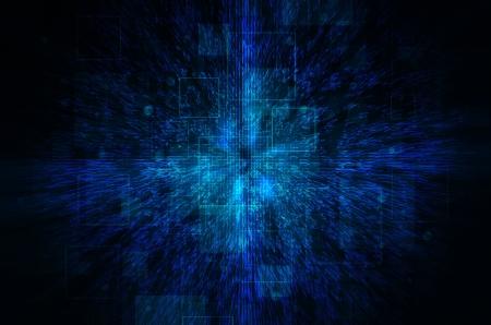 Dark blue technical background.