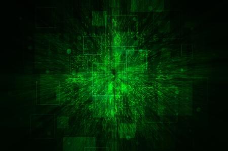 Dark green technical background.