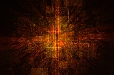 Dark orange technical background.