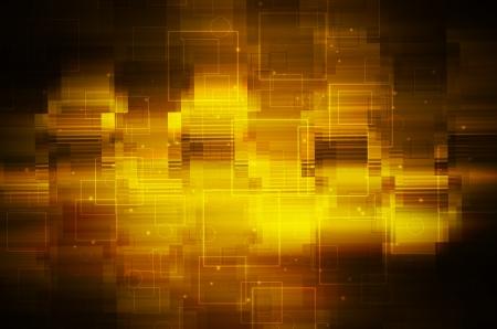 Dark yellow tech background.  Stock Photo