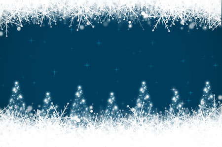 Abstract christmas background with christmas tree and snowflakes. Stock Photo