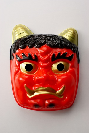 Japanese devils mask for scattering ceremony at the beginning of spring photo