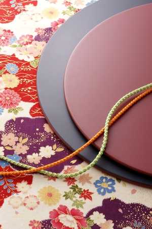 Japanese lacquer trays and kimono cords on beautiiful japanese paper