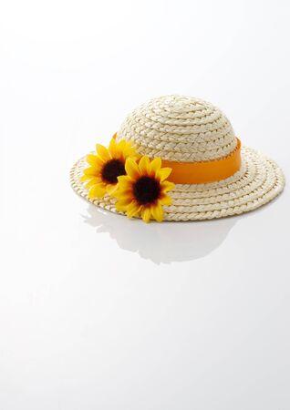 chapeau de paille: chapeau de paille avec des tournesols