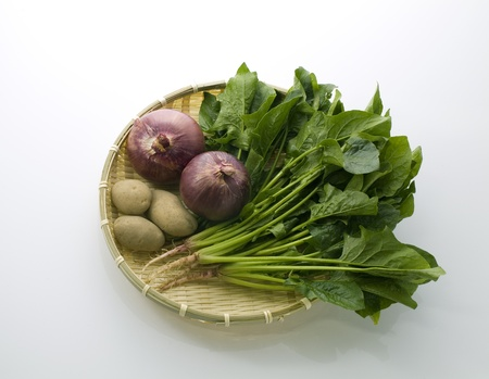various vegetables in bamboo basket photo