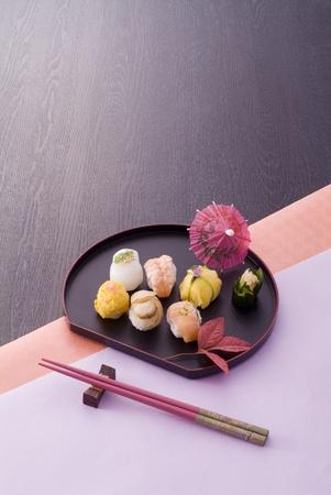 chopstick: various sushi ball and chopsticks