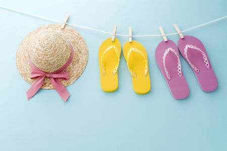 a summer image of sandals and hat Stockfoto