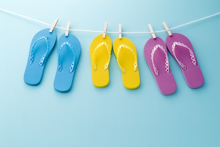 summer holiday: colorful sandals of summer image