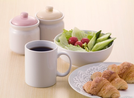 croissant and salad of breakfast image photo