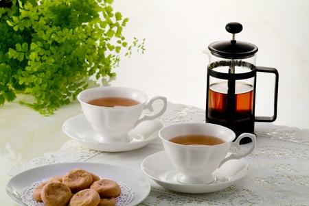 cookies and tea sets of tea time image photo