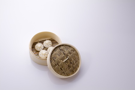 chinese herbs: chinese food made of pork in bamboo basket