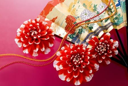 ダリアと赤の背景日本のファン