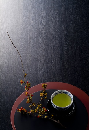 japanese background: japanese hot tea  on lacquer trays