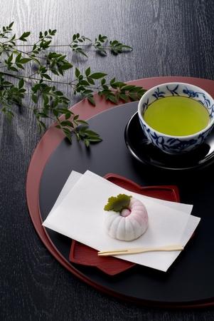 日本の熱いお茶と菓子ラッカー トレイ