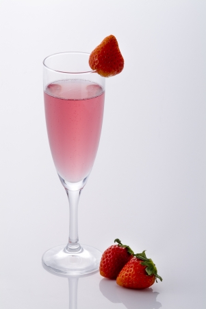 champagne and strawberry on white background