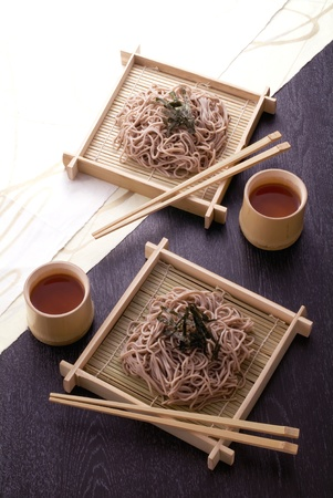 japanese noodle on bamboo colander