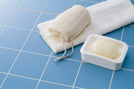 towel, soap, and sponge gourd for bath time