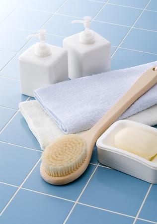 お風呂の時にシャンプーや石鹸、タオル 写真素材