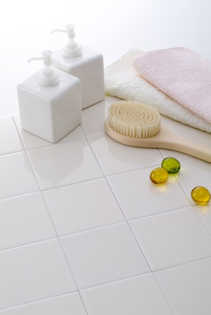 towels, soap, and shampoo for bath time