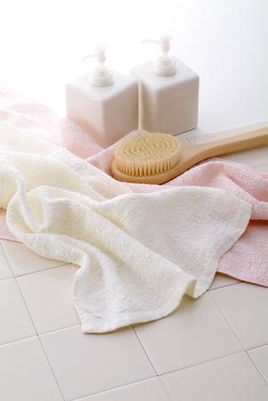 タオル、石鹸、入浴時のシャンプー