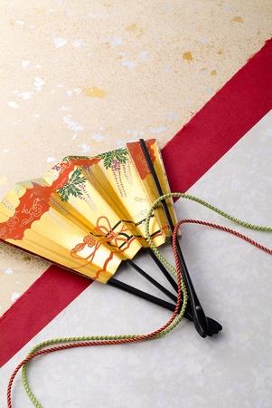 eventail japonais: Fan japonais sur papaer japonais Banque d'images
