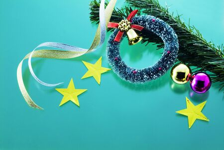 christmas image goods on green background photo