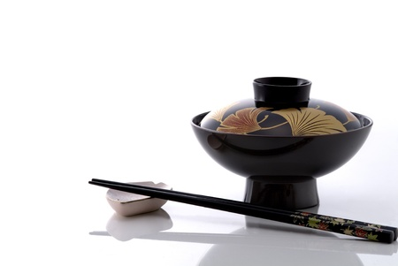 lacquer ware: Japanese lacquer ware  on white table Stock Photo