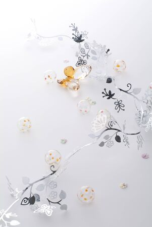 Cookies and silver decoration on white background photo