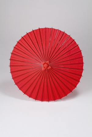 Japanese oil-paper umbrella isolated on white background