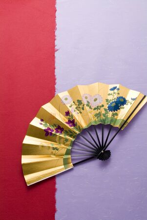 Japanese image, Japanese fan on japanese paper 写真素材