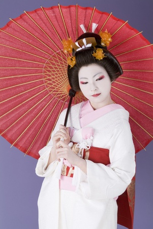 Japanese bride in white kimono photo