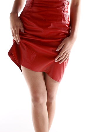 An asian young woman in wearing red short skirts