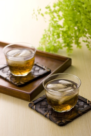 ice plant: Cold berley tea is common in japanese summer.  Stock Photo
