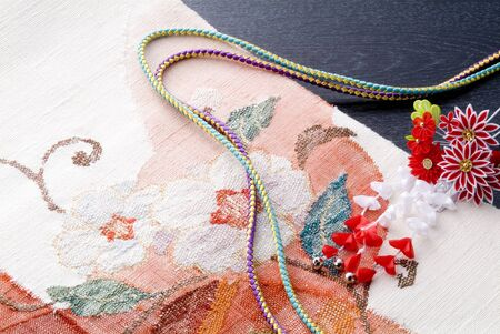 Japanese kimono, cords and ornamental hairpin