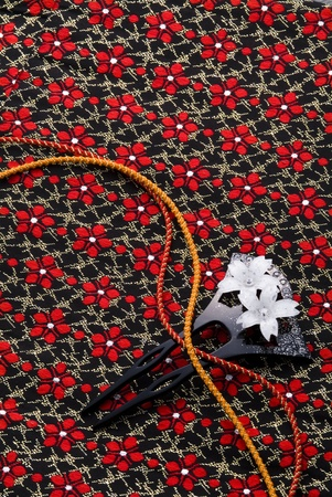 hairpin: Beautiful japanese kimono, its cords and ornamental hairpin Stock Photo