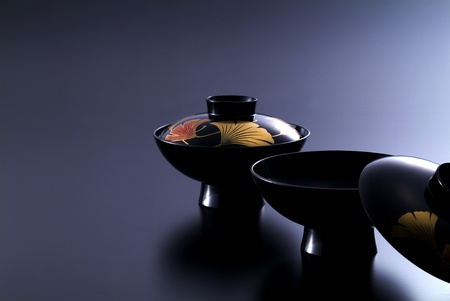 lacquer ware: Japanese soup on black background