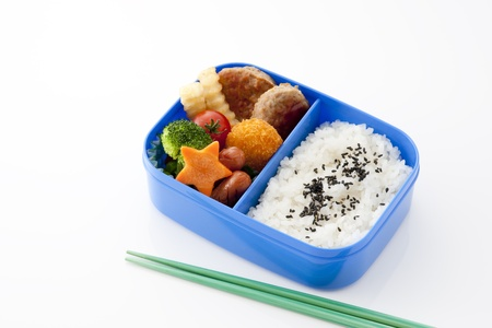 japanese lunch box on white background photo