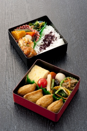 japanese lunch box on wooden black photo