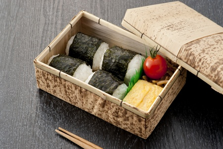 bamboo japanese lunch box and chopsticks photo