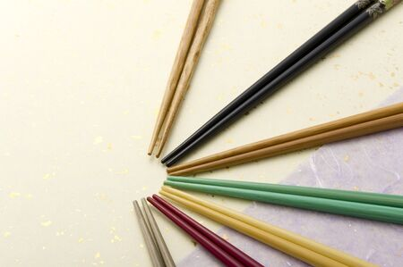 chop stick: various colorful chopsticks on japanese paper