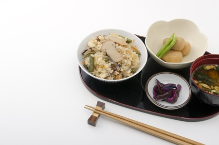 delicious traditional japanese foods and chopsticks Stockfoto